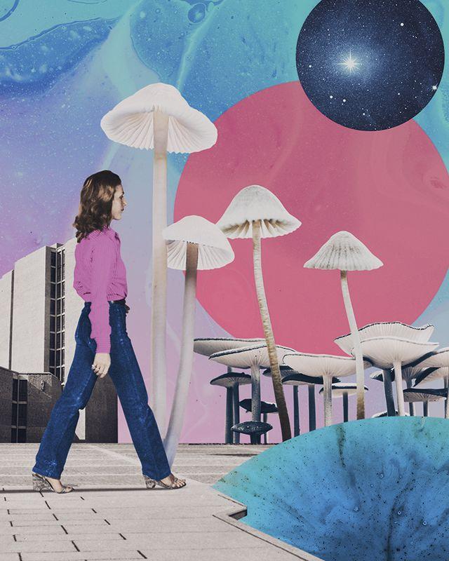 woman walking into a field of mushrooms