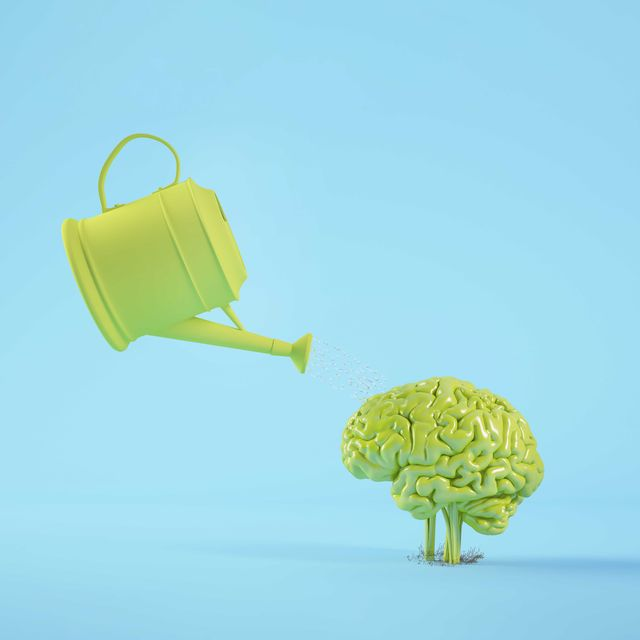 watering a brain plant 3d rendering concept