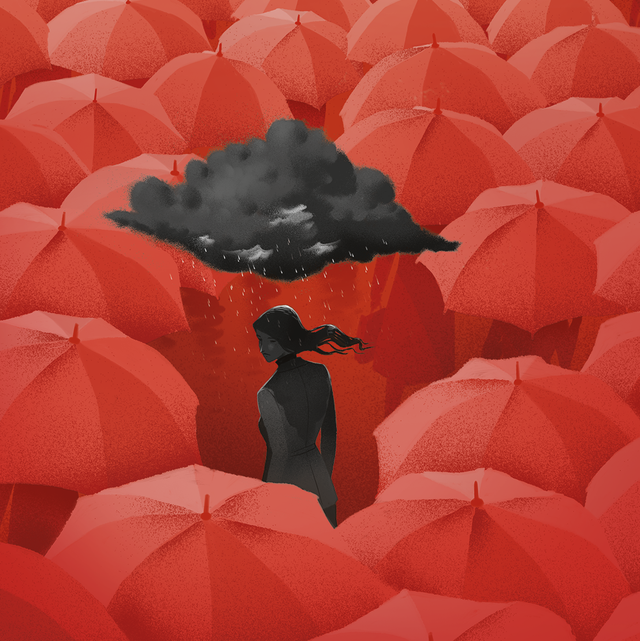 gray woman with gray cloud in sea of red umbrellas