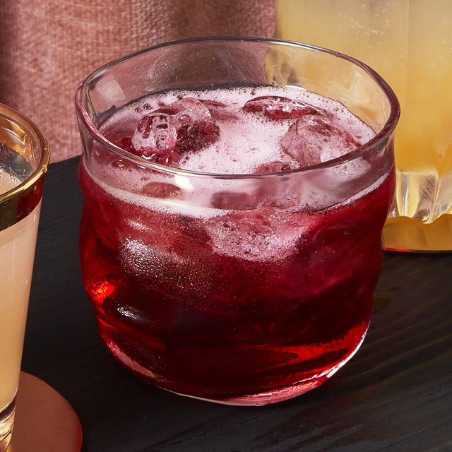 ginger hibiscus fizz holiday cocktail recipe
