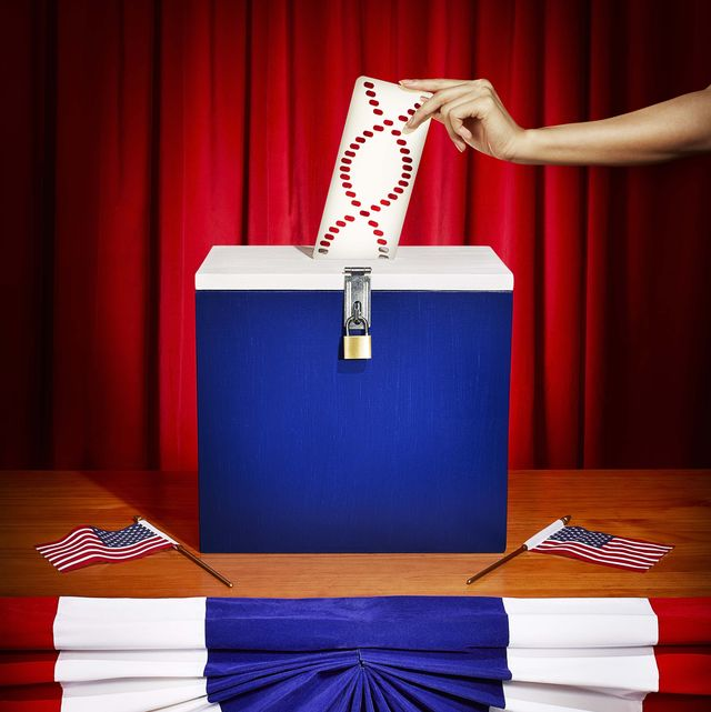 ballot box with dna punch card