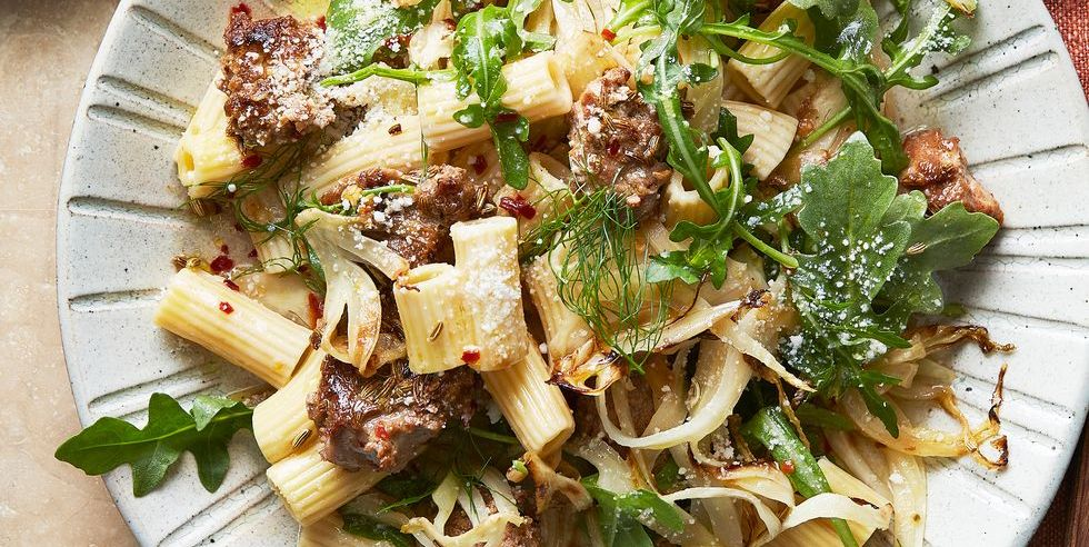 Homemade Turkey Sausage, Fennel, and Arugula with Chickpea Rigatoni