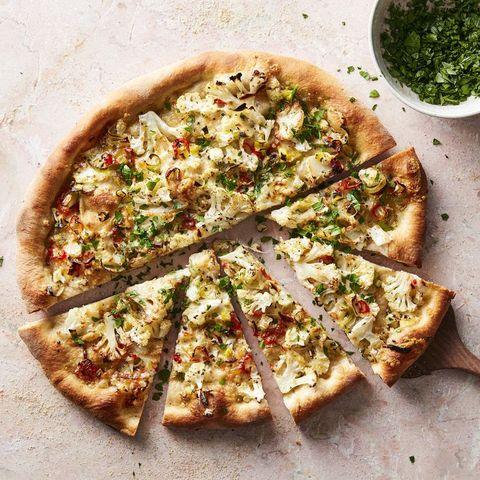 best cauliflower recipes   cauliflower red chile pizza