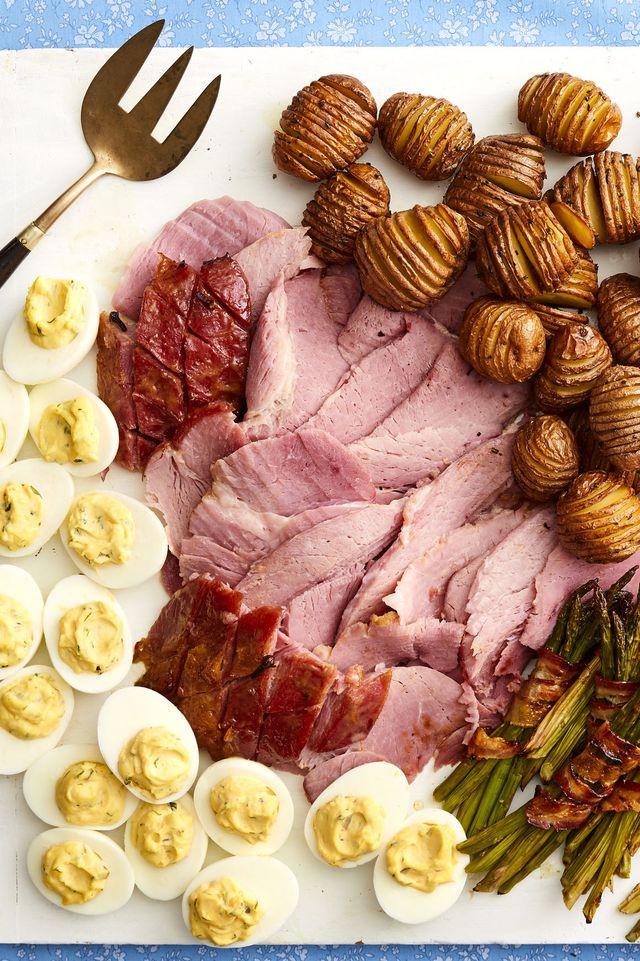 honey mustard glazed ham on easter platter