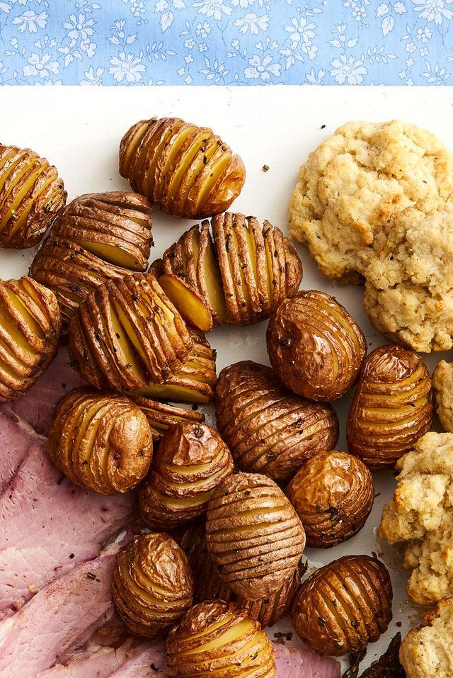 rosemary hasselback potatoes on easter platter