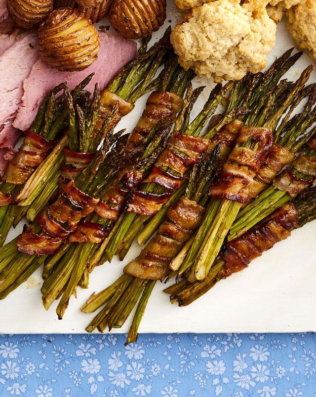 bacon wrapped asparagus bundles on easter platter