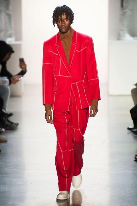 Fashion, Fashion show, Runway, Fashion model, Red, Clothing, Public event, Human, Shoulder, Footwear,