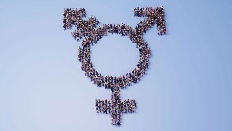 crowd of people shaped like transgender symbol 3d render