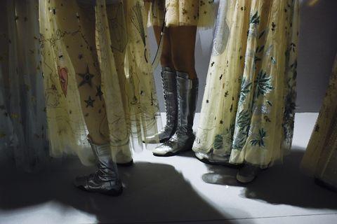 Yellow, Textile, Khaki, Visual arts, Curtain, Fashion design, Pocket, Collection, Boot,