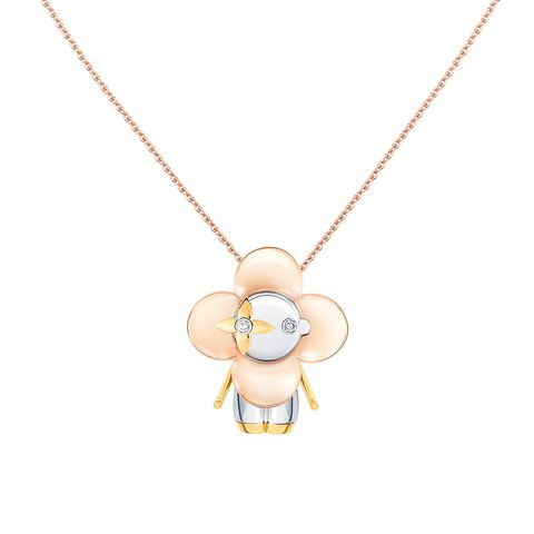 louis vuitton vivienne 小尺寸,黃金、玫瑰金、白色黃金,鑲鑽 珠寶吊墜項鍊