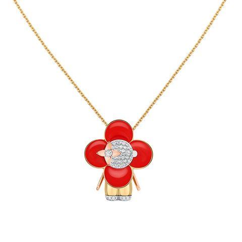 louis vuitton vivienne 小尺寸,黃金、玫瑰金、白色黃金,紅色琺瑯、鑲鑽珠寶吊墜項鍊