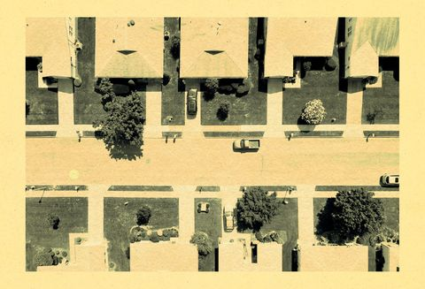 overhead shot of a two rows of houses