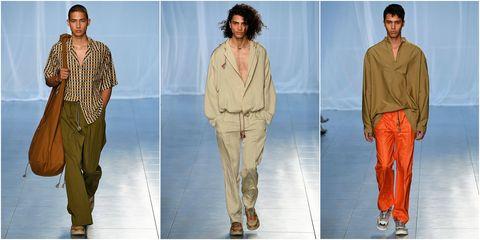 Fashion model, Clothing, Fashion, Orange, Fashion design, Neck, Footwear, Beige, Trousers, Jeans,