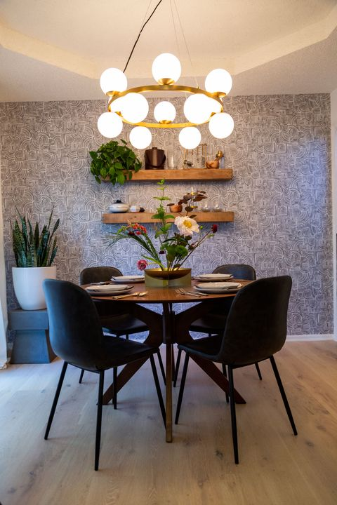 Dining room, Room, Interior design, Furniture, Table, Property, Ceiling, Floor, Home, Kitchen & dining room table,
