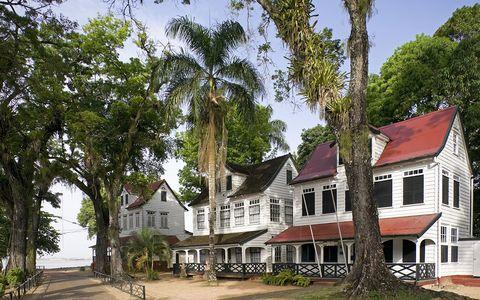 suriname, paramaribo, historic houses near old fort called zeelandia unesco world heritage site