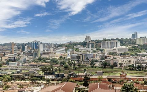 view from the above of the capital city kampala in uganda, africa