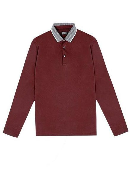Product, Collar, Sleeve, Textile, Red, White, Pattern, Carmine, Maroon, Fashion,