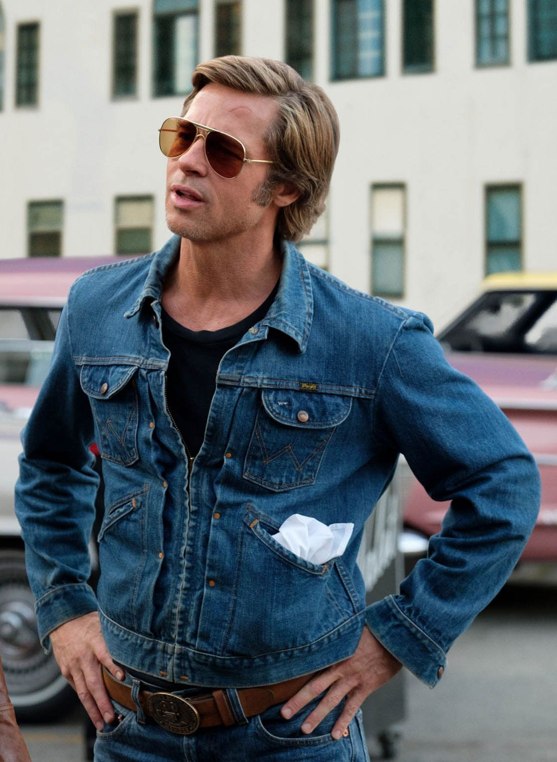 Brad Pitt's Wrangler Jean Jacket From 'Once Upon a Time...In Hollywood'