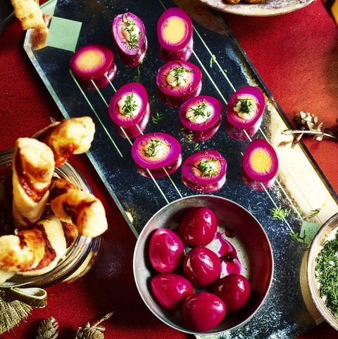 best canape recipes pink pickled quail's eggs