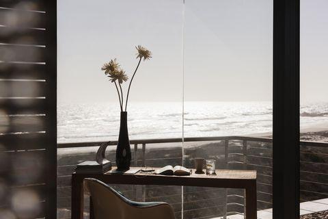 White, Black-and-white, Room, Monochrome photography, Table, Furniture, Sea, Tree, Monochrome, Plant,
