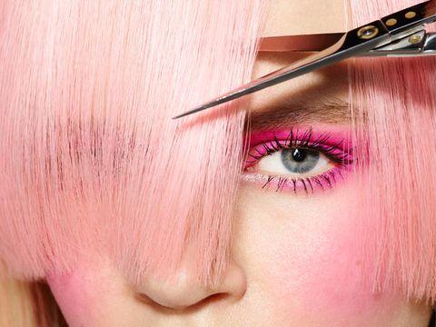 Lip, Cheek, Brown, Skin, Hairstyle, Forehead, Eyelash, Eyebrow, Pink, Purple,
