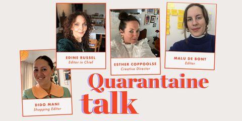 ELLE's Edine Russel, Esther Coppoolse, Malu de Bont en Dido Mani thuis in quarantaine