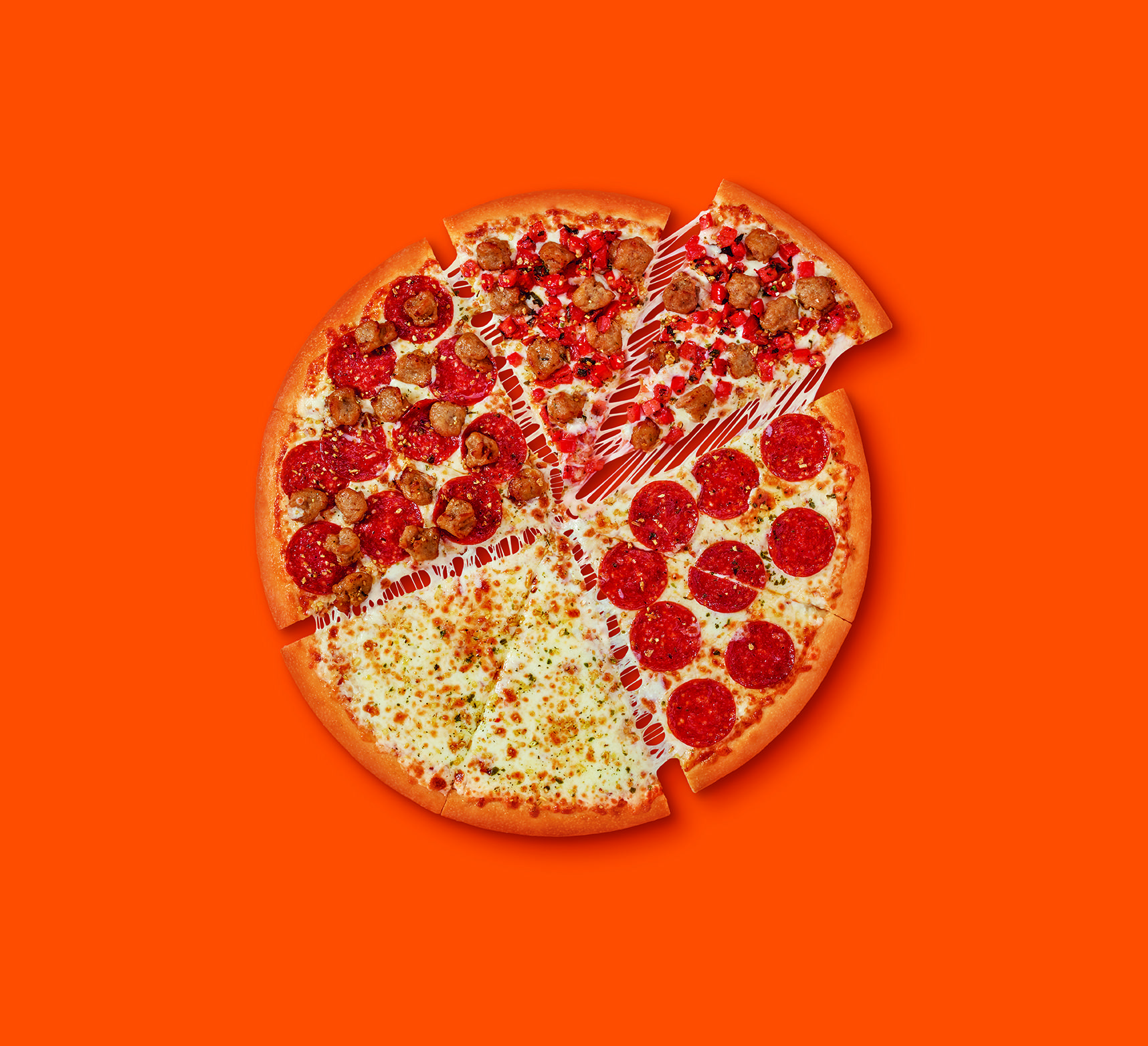 Little Caesars' Quattro Pizza Comes With Four Different Topping Sections So You Never Have To Choose