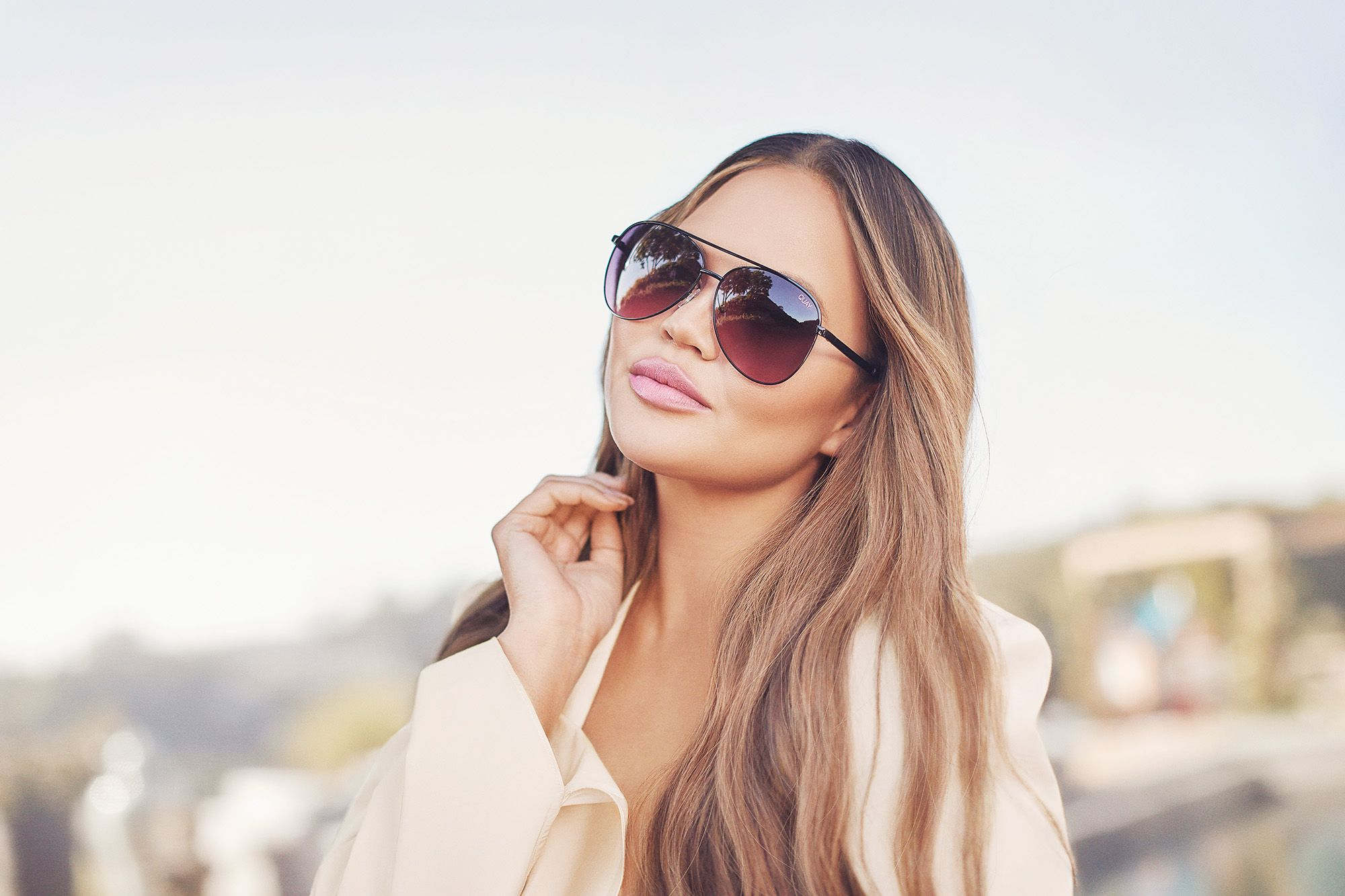 Chrissy Teigen x Quay Launch Sunglasses With Blue-Light Filtering Lenses