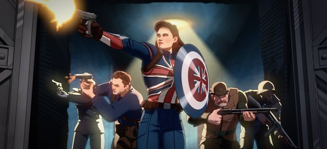 captain carter center and the howling commandos in marvel studios' what if… exclusively on disney ©marvel studios 2021 all rights reserved