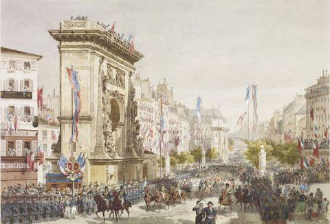 Watercolor paint, Painting, Human settlement, Architecture, City, Triumphal arch, Metropolitan area, History, Arch, Art,
