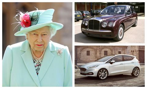queen elizabeth ii and bentley state limousine and ford fiesta