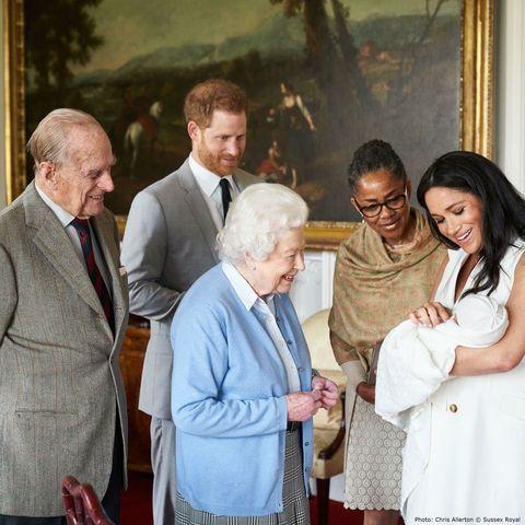 Queen Elizabeth II, Meghan Markle, Archie, Prins Harry, Doria Ragland, Prins Philip