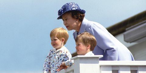 Queen Elizabeth with Harry and William