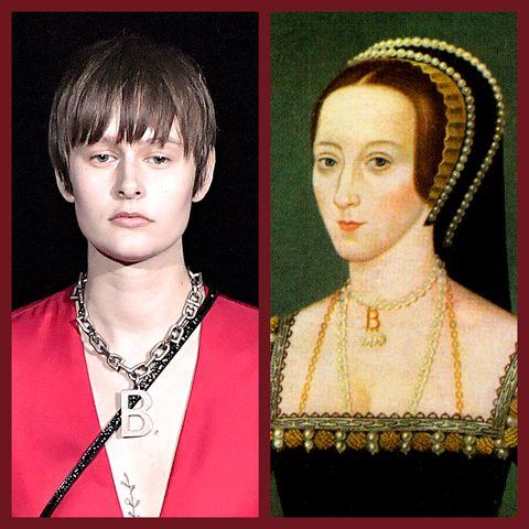 Balenciaga Fall 2019 B necklace and Anne Boleyn B necklace