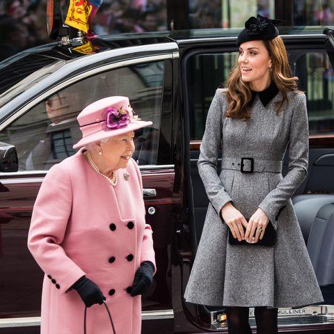 Queen Elizabeth II And The Duchess Of Cambridge Visit King's College London
