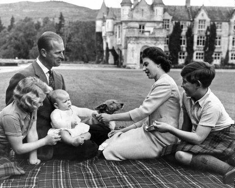 Queen Elizabeth II and her husband Prince Philip, Duke of Edinburgh, with their children Princess Anne, Prince Charles (