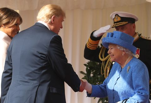 53c7322ba437 Did Donald Trump Break Royal Protocol by Walking in Front of the Queen and  Not Bowing?