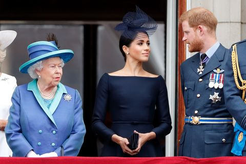 meghan markle, prince harry, and the queen during the an engagement marking the centenary of the raf