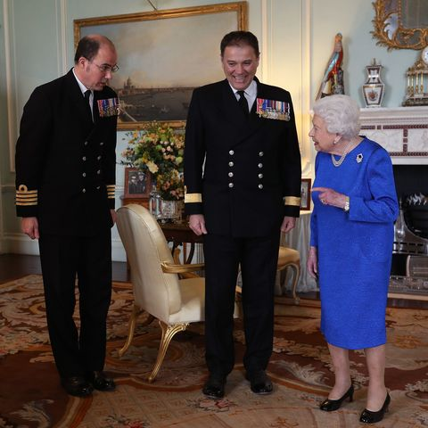 Queen Elizabeth II Holds Private Audience In Buckingham Palace