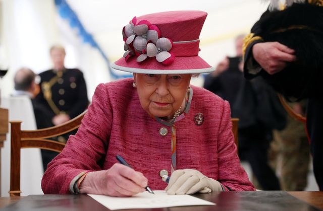 the queen attends the king's troop 70th anniversary parade
