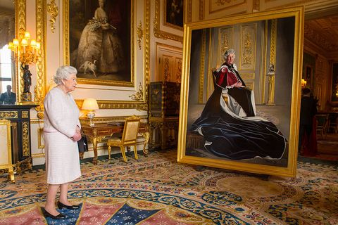 the queen unveiles her portrait marking six decades of patronage