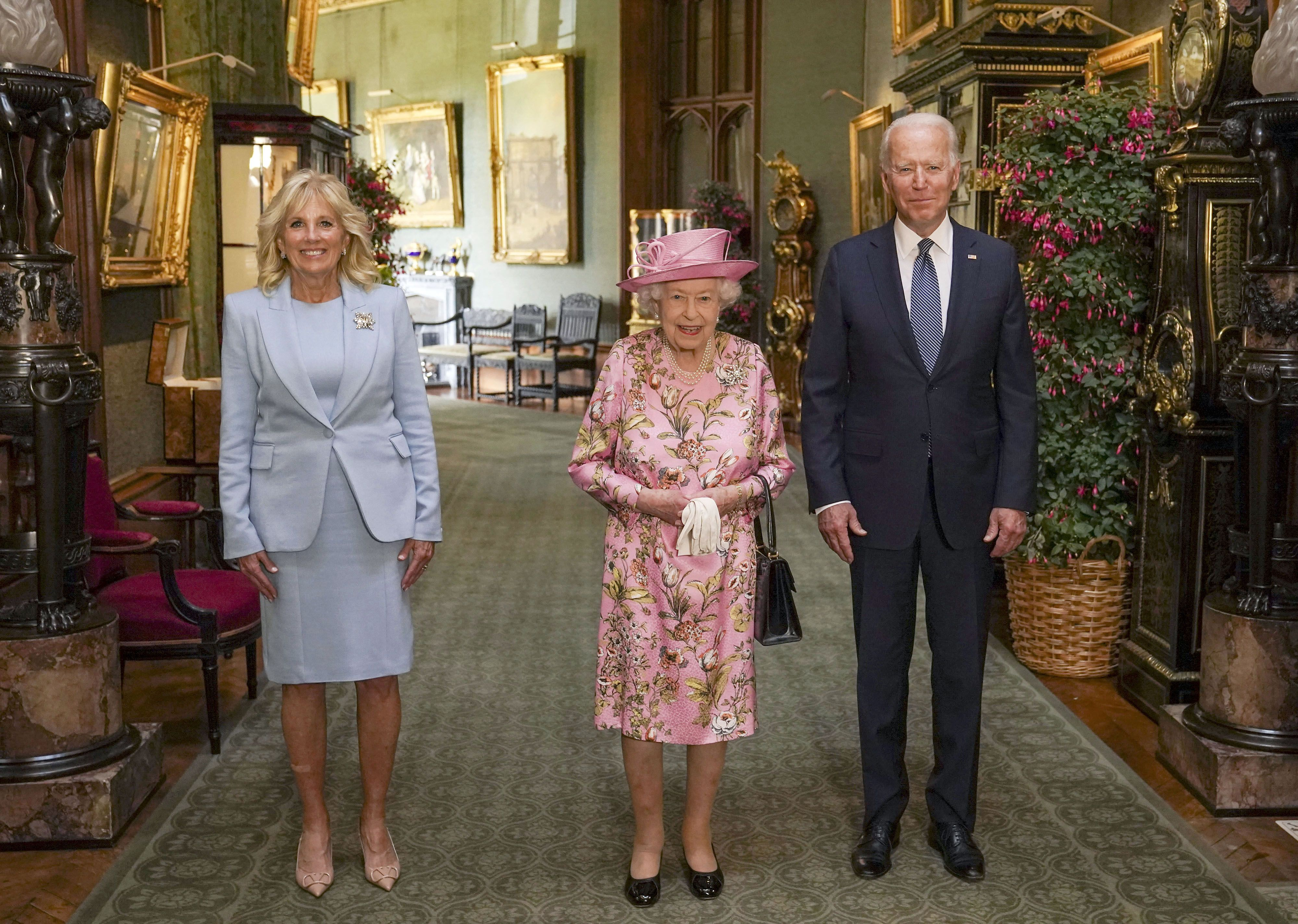 Queen Elizabeth and First Lady Jill Biden Chose Pastel Dresses for Their First Presidential Tea Together
