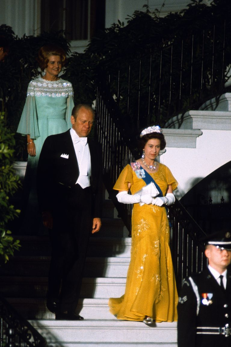 During a state visit in Washington, D.C., Queen Elizabeth wore this bright yellow design for a formal dinner with President Ford.