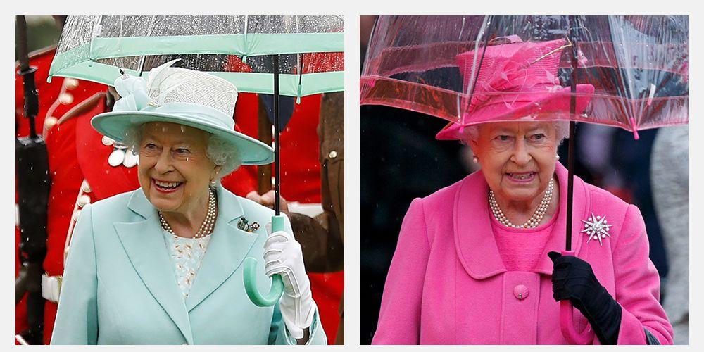 queen elizabeth umbrellas match her outfit