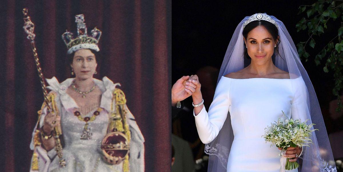 meghan markle s wedding dress paid tribute to queen elizabeth ii s 1953 coronation gown queen elizabeth ii s 1953 coronation gown