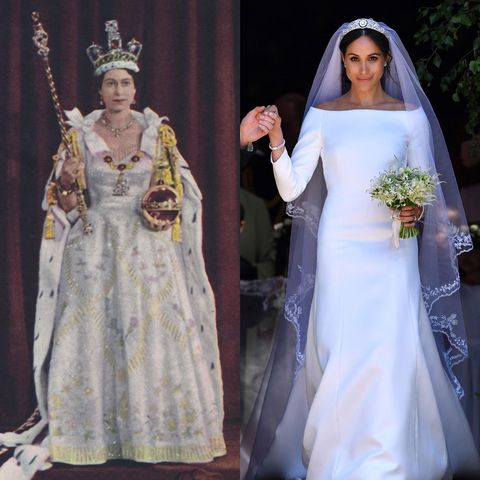 Meghan Markle S Wedding Dress Paid Tribute To Queen Elizabeth Ii 1953 Coronation Gown