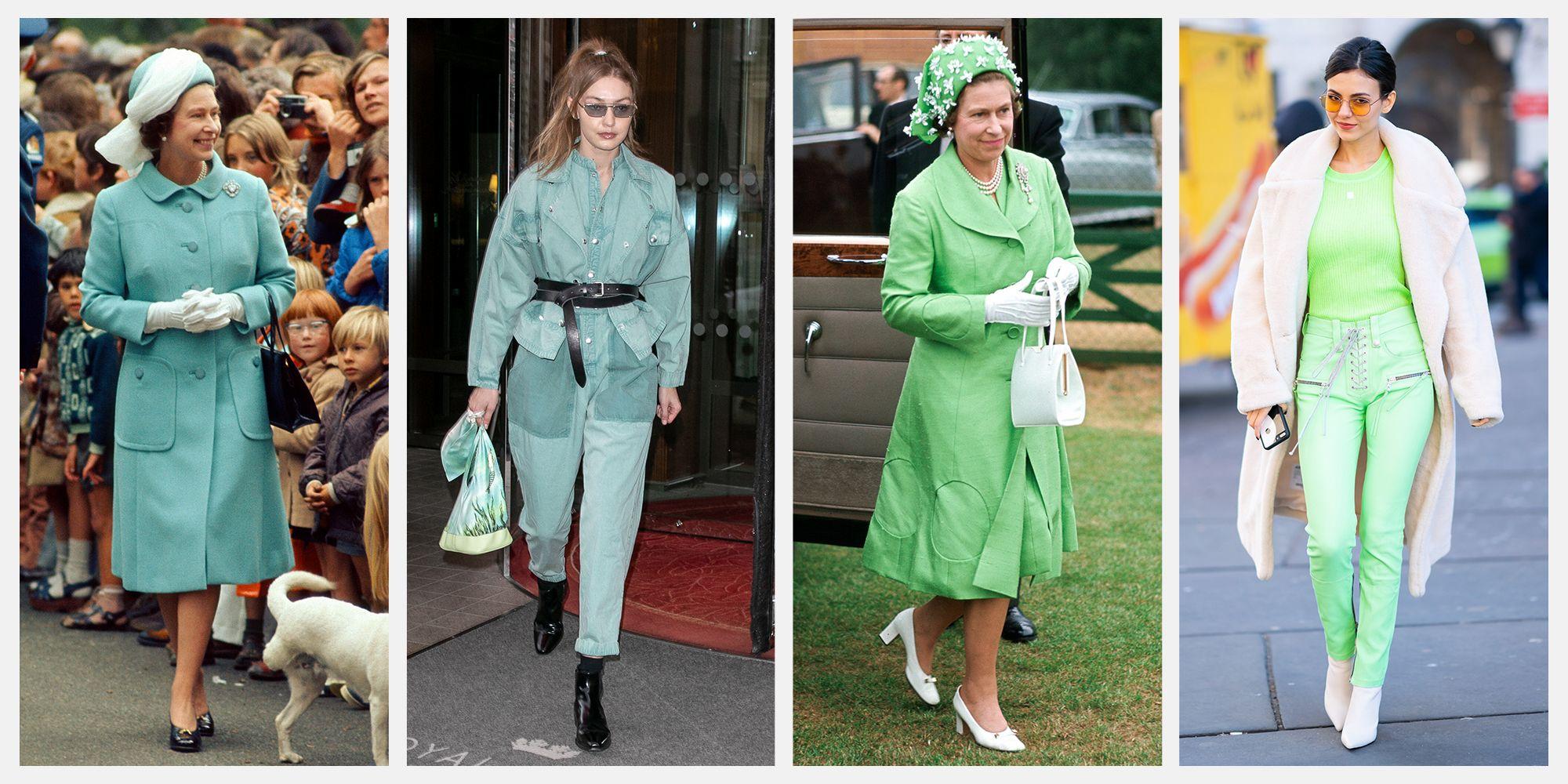 queen elizabeth monochrome outfits