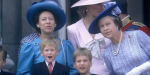 Diana, Princess of Wales ,Prince William,Prince Harry,Queen Elizabeth II,Princess Margaret,Trooping the Colour