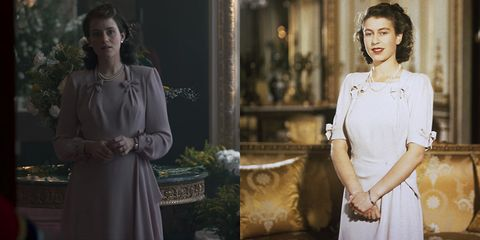 side by side photos of royal outfits that were recreated on the crown