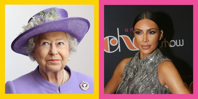 remember when the queen banned kim kardashian from a london hotel seen here is the queen left and a seperate image of kim kardashian